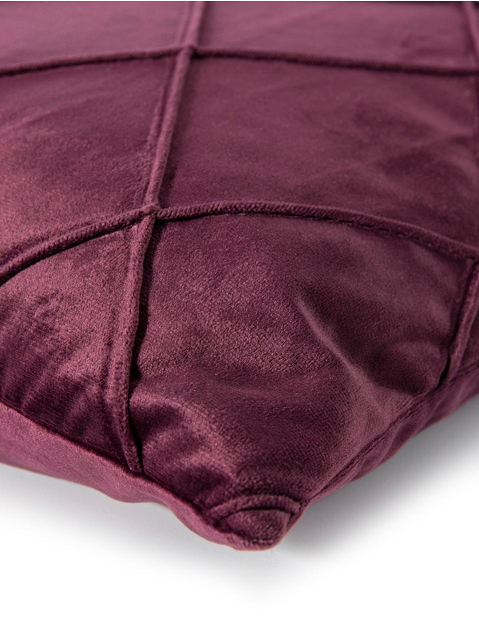Federa arredo in velluto con motivo a rombi Nobless, 100% velluto di poliestere, Vino rosso, Larg. 50 x Lung. 50 cm