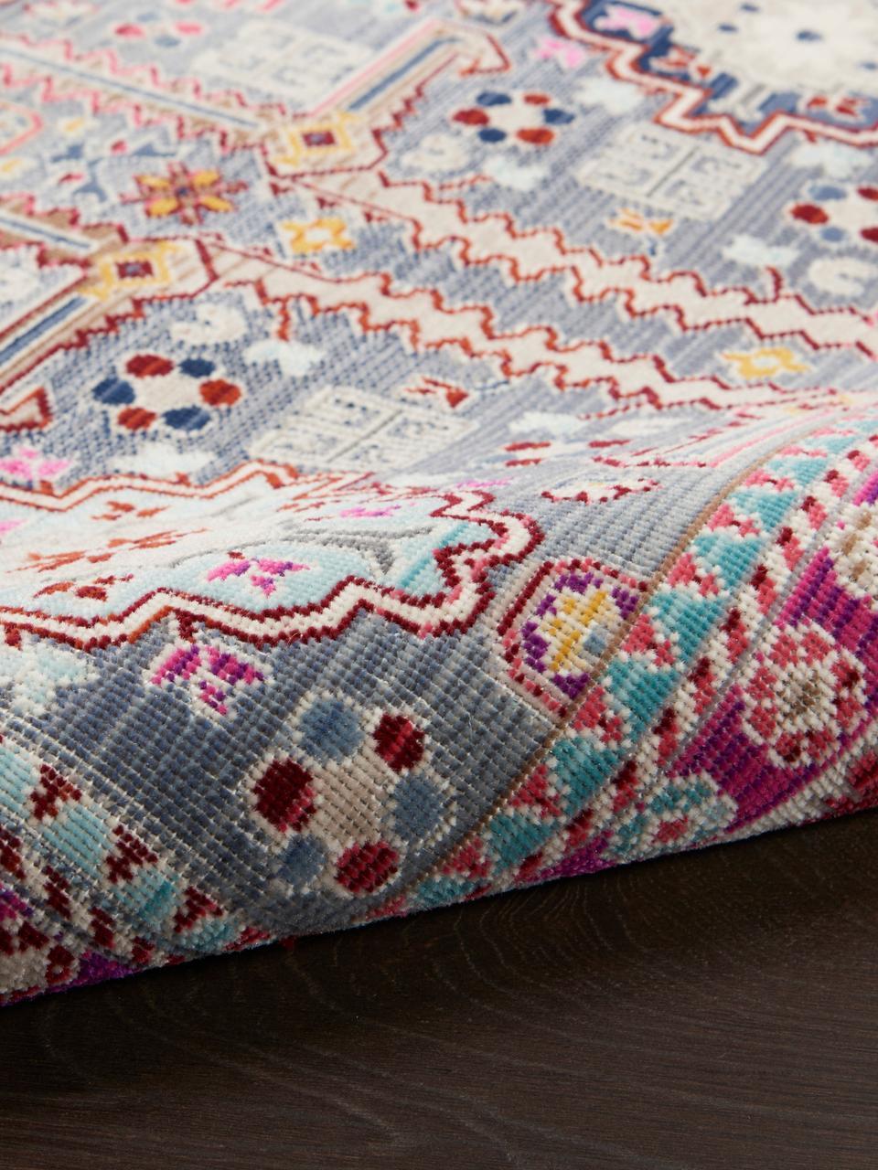 Tappeto con motivo vintage colorato Vintage Kashan, Retro: Latex, Grigio, multicolore, Larg. 270 x Lung. 360 cm (taglia XL)