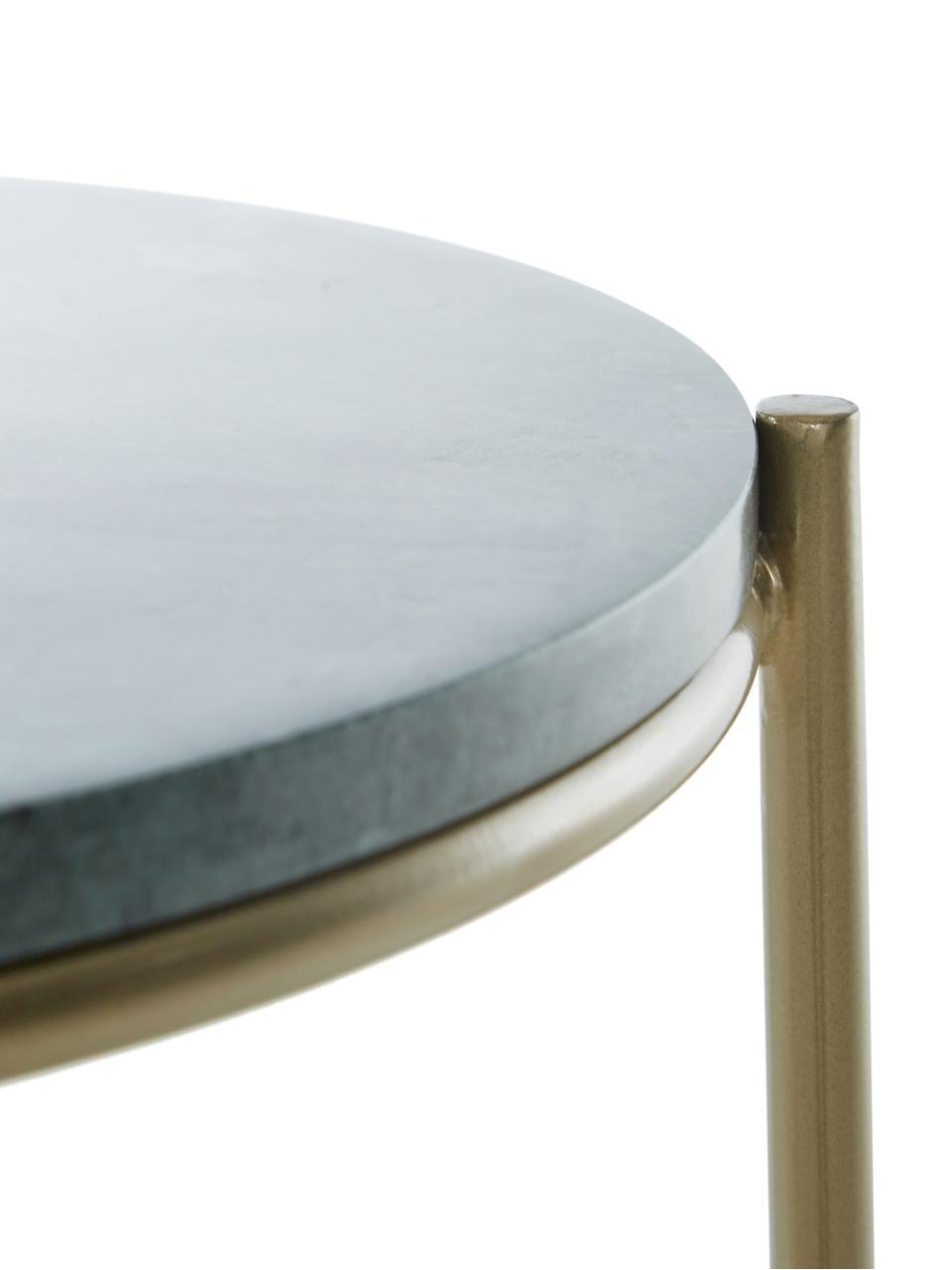 Mesa auxiliar redonda de mármol Ella, Tablero: mármol, Estructura: metal con pintura en polv, Mármol verde, dorado, Ø 40 x Al 50 cm