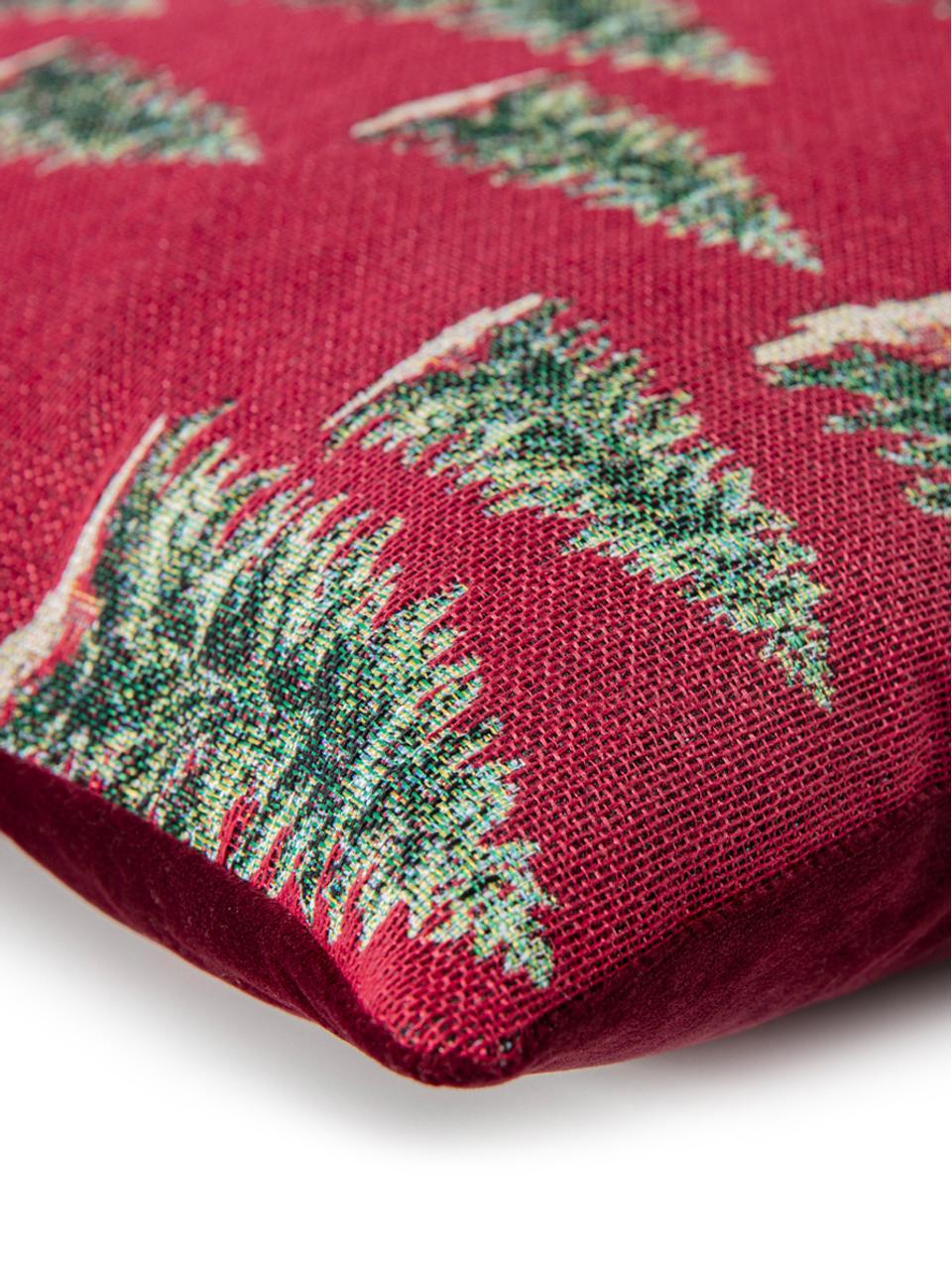 Funda de cojín Pinetree, Parte superior: 55%poliéster, 45%algodó, Parte trasera: terciopelo de poliéster, Rojo, verde, beige, An 40 x L 40 cm
