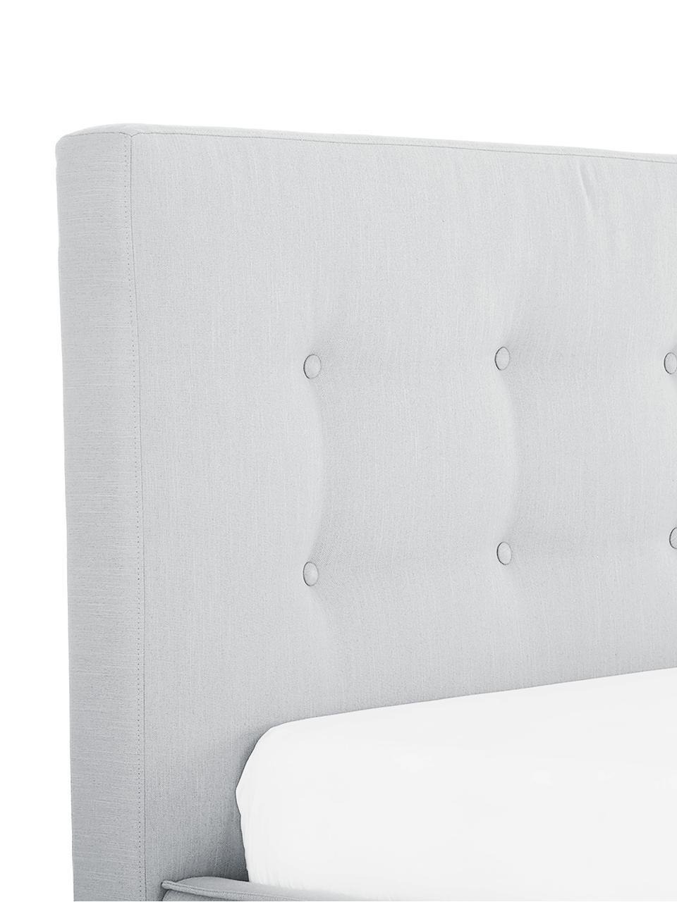 Łóżko tapicerowane Moon, Korpus: lite drewno sosnowe, Nogi: lite drewno dębowe, Tapicerka: poliester (materiał tekst, Jasny szary, 160 x 200 cm