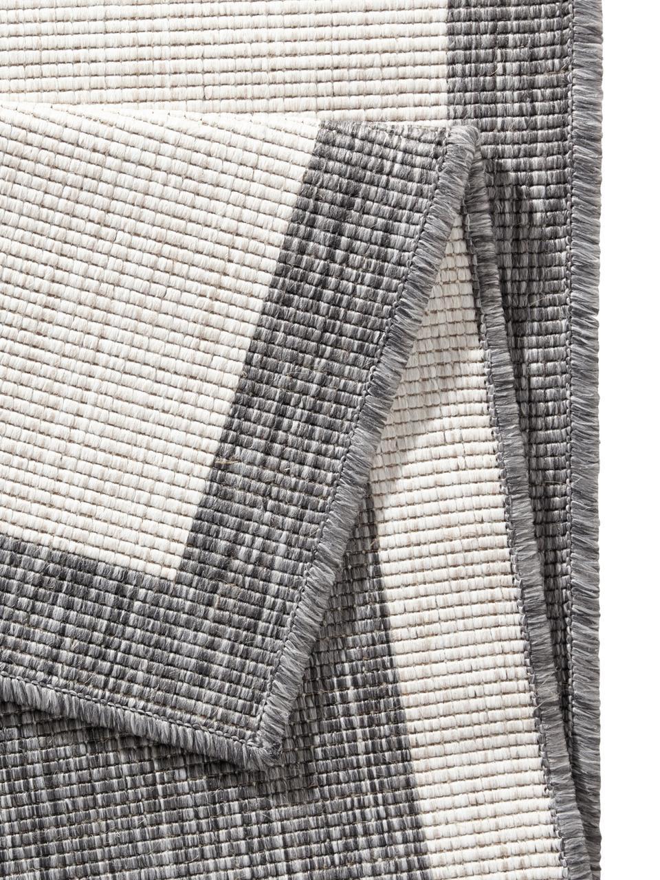 In- und Outdoor-Wendeläufer Panama in Grau/Creme, Grau, Cremefarben, 80 x 250 cm