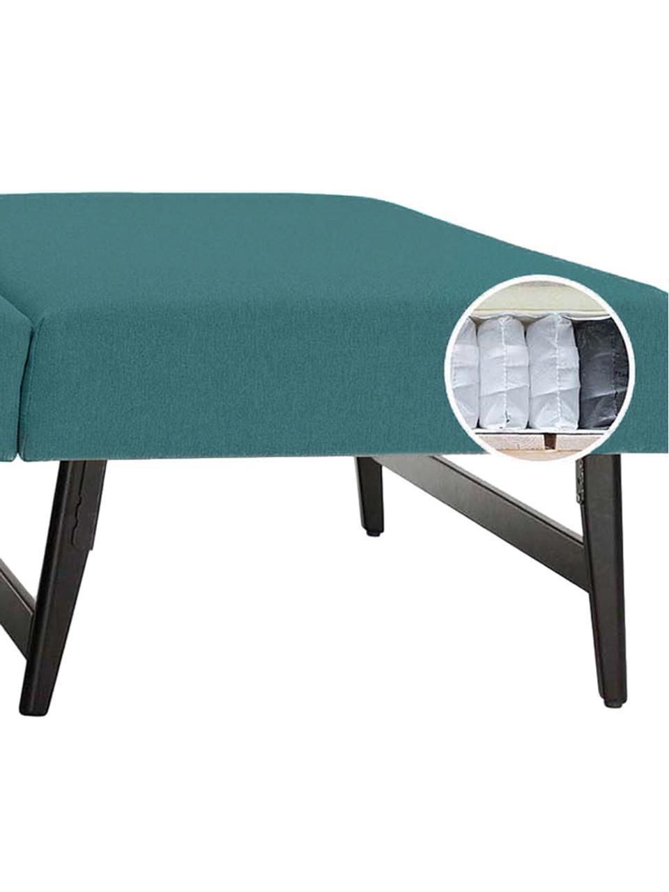 Schlafsofa Bruno (2-Sitzer), Bezug: Pflegeleichtes robustes P, Rahmen: Massivholz, Webstoff Türkis, B 180 x T 84 cm