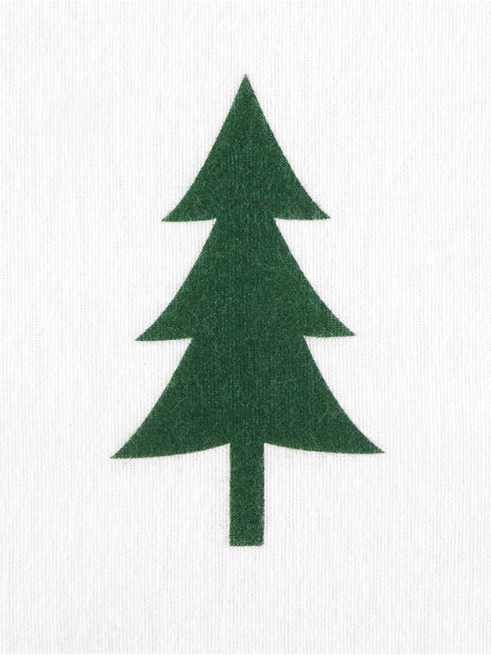 Flanell-Bettwäsche X-mas Tree mit Tannenbäumen, Webart: Flanell Flanell ist ein s, Weiß, Grün, 240 x 220 cm + 2 Kissen 80 x 80 cm