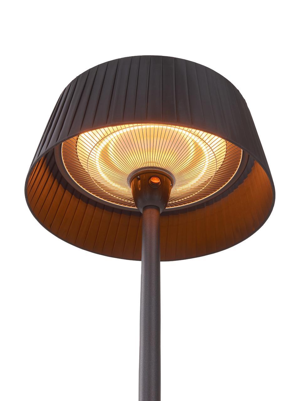 Halogenheizer Patio, strombetrieben, Lampenschirm: Edelstahl, Aluminium, bes, Fuß: Edelstahl, beschichtet, Schwarz, Ø 50 cm