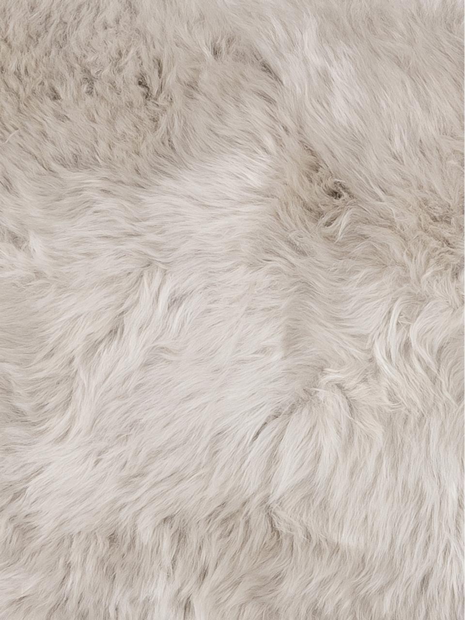 Federa arredo in pelliccia di pecora Oslo, Retro: lino, Fronte: beige Retro: grigio chiaro, Larg. 30 x Lung. 50 cm