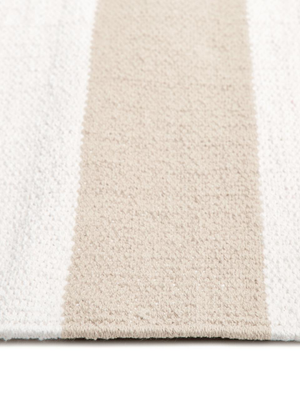 Tapis rayé beige blanc tissé main Blocker, Blanc crème/taupe