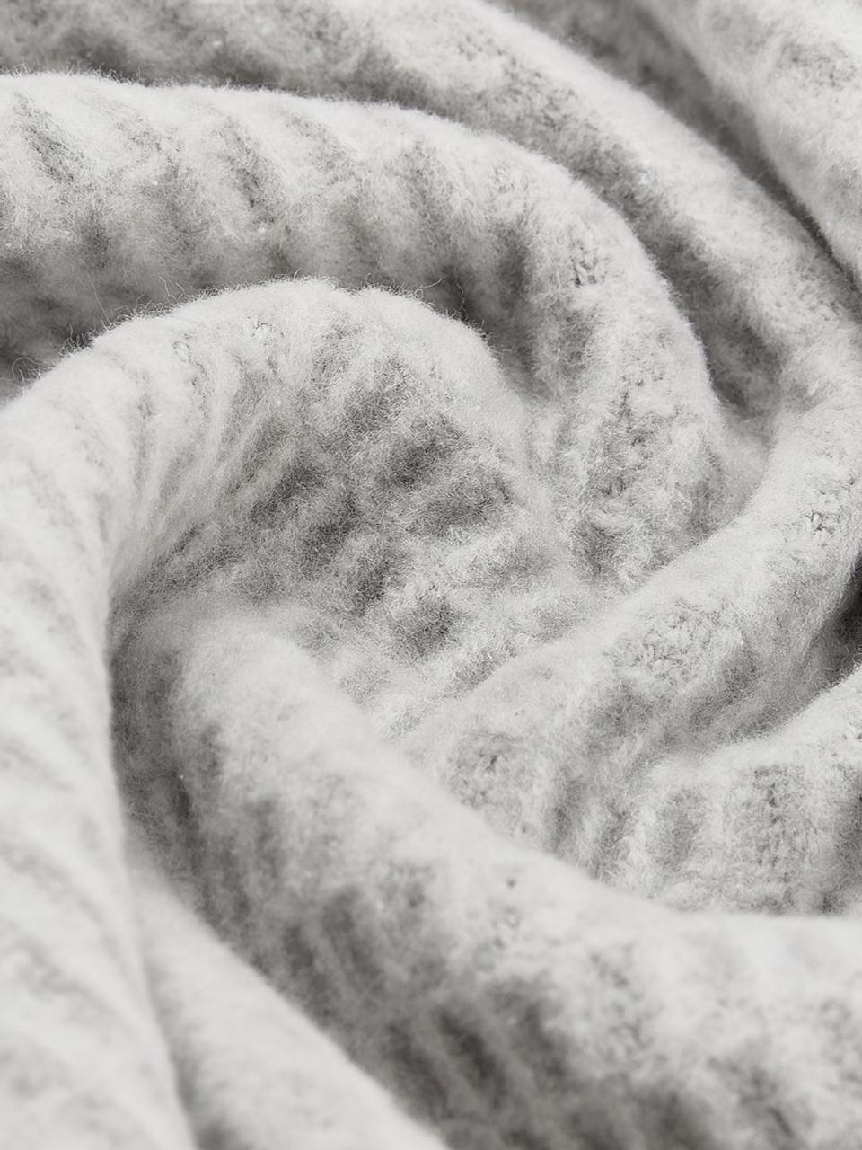 Plaid a nido d'ape Sara, 50% cotone, 50% acrilico, Grigio pietra, Larg. 140 x  Lung.180 cm