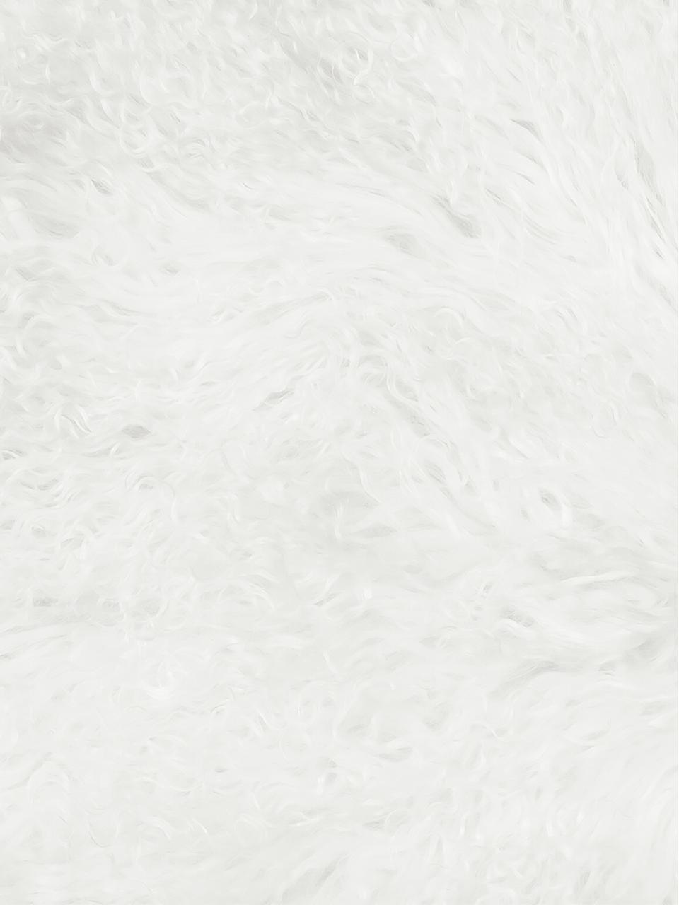 Tappeto in pelliccia d'agnello a pelo lungo Ella, Retro: pelle, Bianco naturale, Larg. 50 x Lung. 160 cm