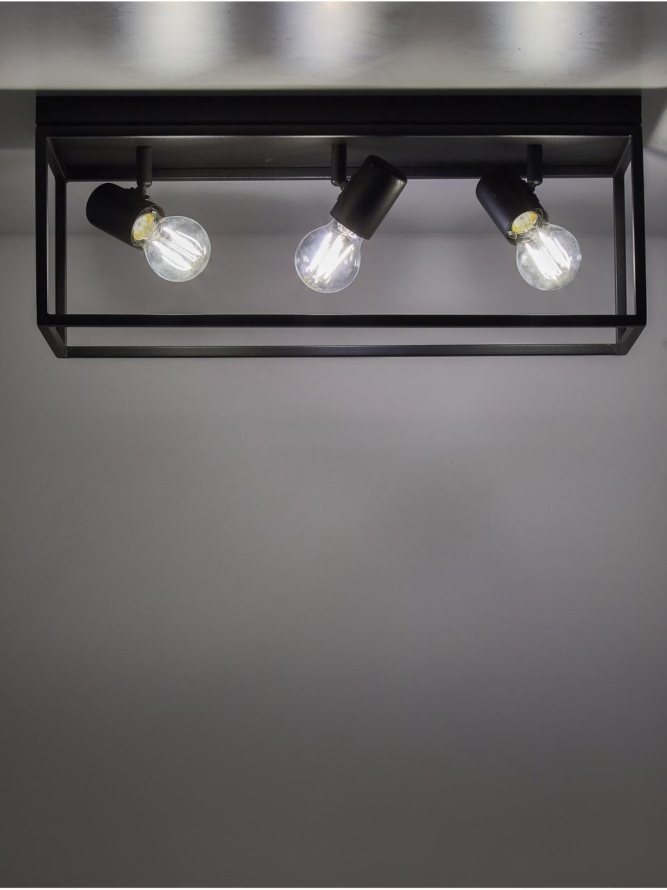 Deckenleuchte Silentina im Industrial-Style, Stahl, pulverbeschichtet, Schwarz, 54 x 21 cm