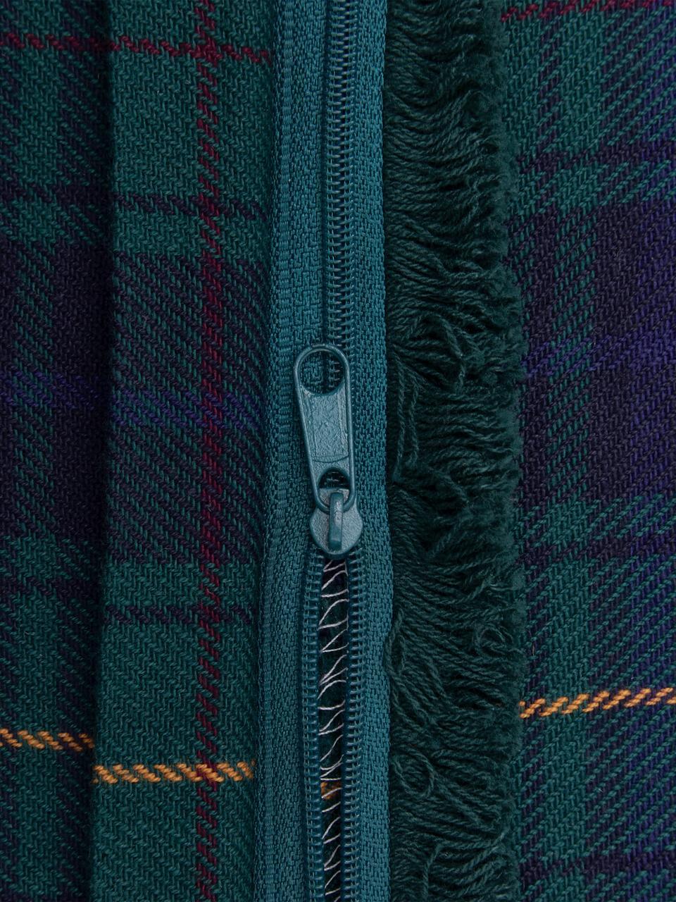 Federa arredo a quadri con frange Stirling, 100% cotone, Blu scuro, verde scuro, giallo, Larg. 45 x Lung. 45 cm