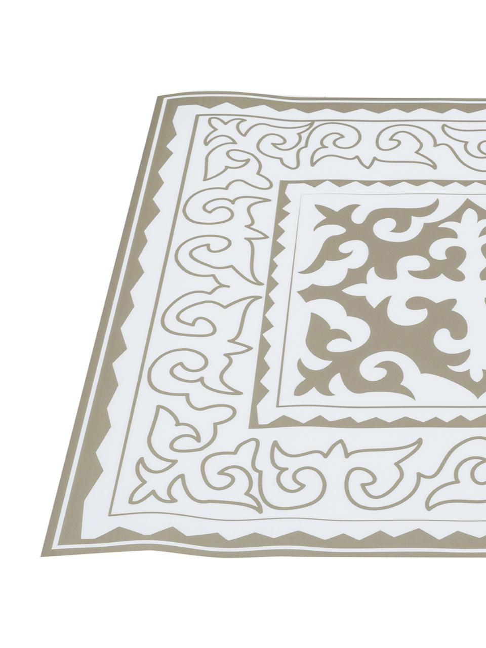 Tappetino in vinile Aksana, Vinile, Bianco, taupe, Larg. 136 x Lung. 203 cm