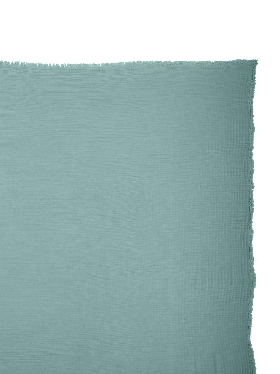Tagesdecke Vanly aus weichem Baumwollmusselin, 100% Baumwollmusselin, Graugrün, B 240 x L 260 cm (für Betten ab 160 x 200)