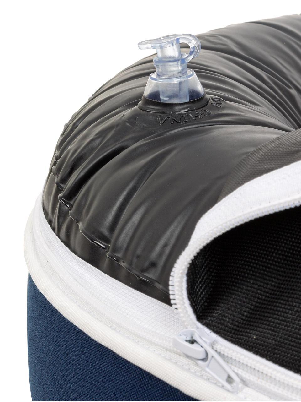 Puf de exterior Rihanna, Tapizado: poliéster, resistente al , Interior: PCV, Azul, blanco, Ø 53 x Al 23 cm