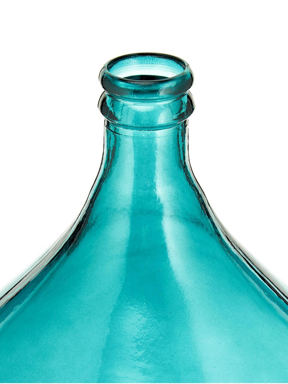 Bodenvase Drop aus recyceltem Glas, Recyceltes Glas, Aqua, Ø 40 x H 56 cm