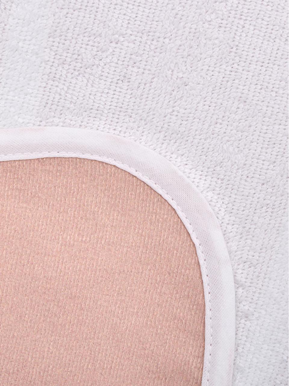 Telo mare a forma di conchiglia Shelly, 55% poliestere, 45% cotone Qualità molto leggera 340 g/m², Rosa, bianco, Larg. 150 x Lung. 130 cm