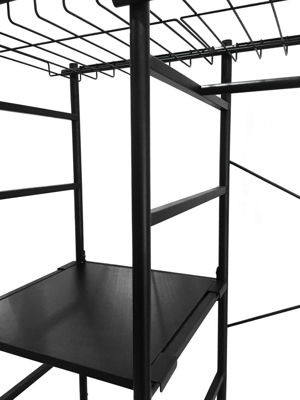 Offener Metall-Kleiderschrank Storn in Schwarz, Gestell: Metall, lackiert, Schwarz, 120 x 182 cm