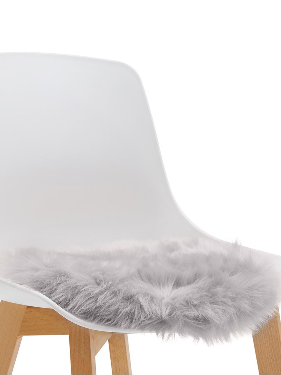 Kunstfell-Sitzauflage Mathilde, glatt, Vorderseite: 65% Akryl, 35% Polyester, Rückseite: 100% Polyester, Hellgrau, Ø 37 cm