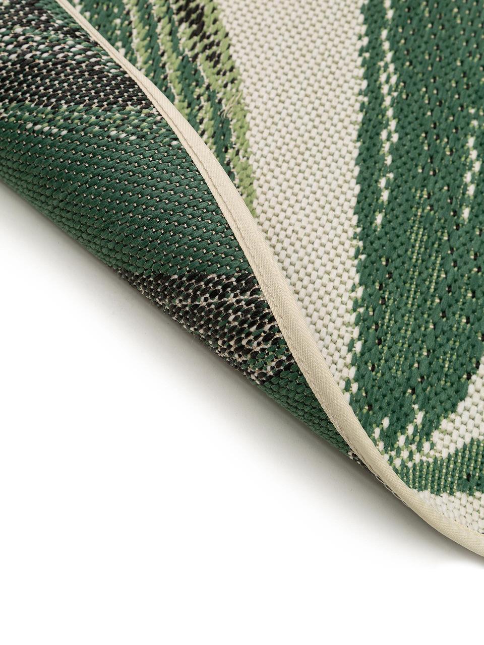 Runder In & Outdoor-Teppich Capri, 100% Polypropylen, Grün, Creme, Ø 160 cm (Größe L)