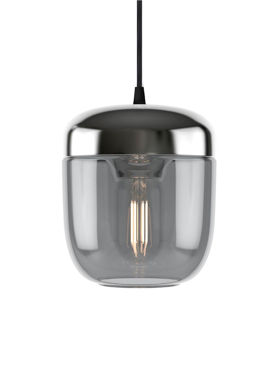 Lampada a sospensione in vetro Acorn, Baldacchino: silicone, Grigio, alluminio, Ø 14 x Alt. 16 cm