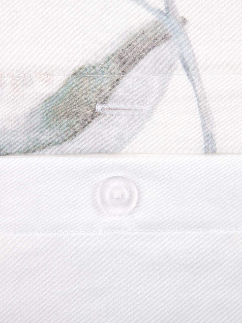 Pościel z satyny bawełnianej Evie, Przód: kwiatowy nadruk Tył: biały, 240 x 220 cm