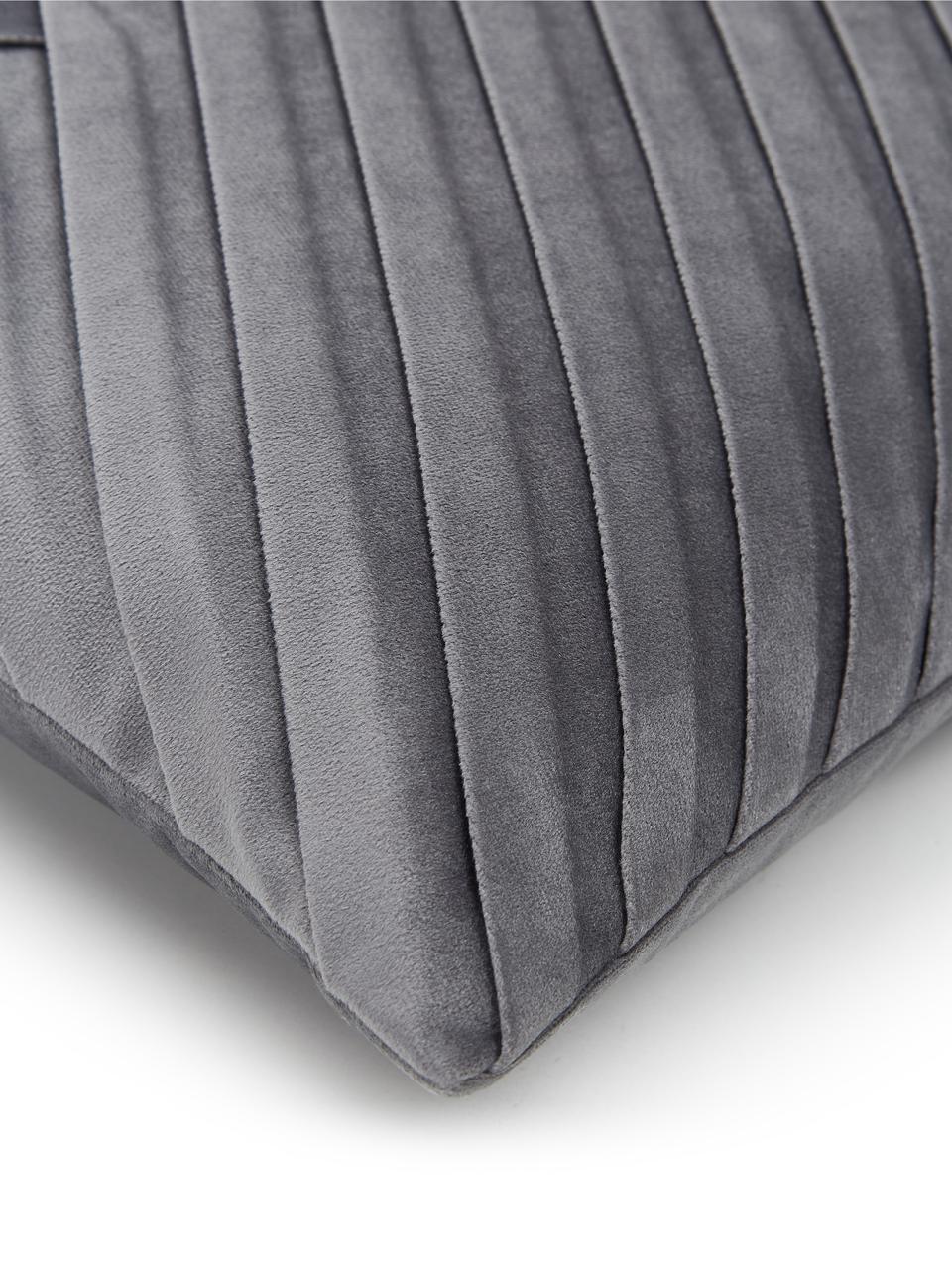 Samt-Kissenhülle Lucie in Dunkelgrau mit Struktur-Oberfläche, 100% Samt (Polyester), Dunkelgrau, 45 x 45 cm