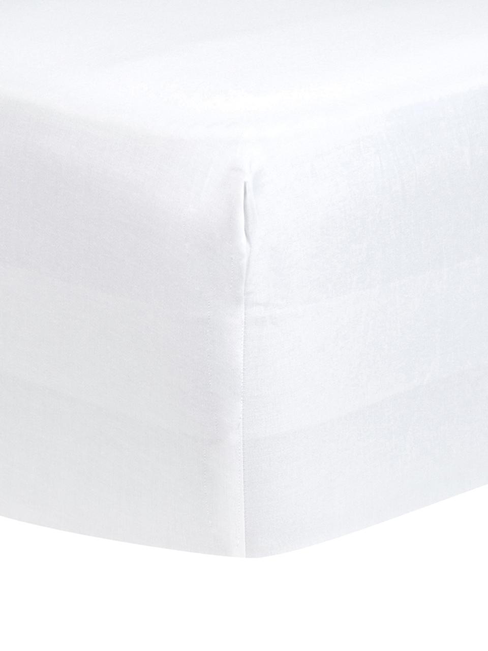 Boxspring-Spannbettlaken Comfort, Baumwollsatin, Webart: Satin, leicht glänzend, Weiß, 200 x 200 cm