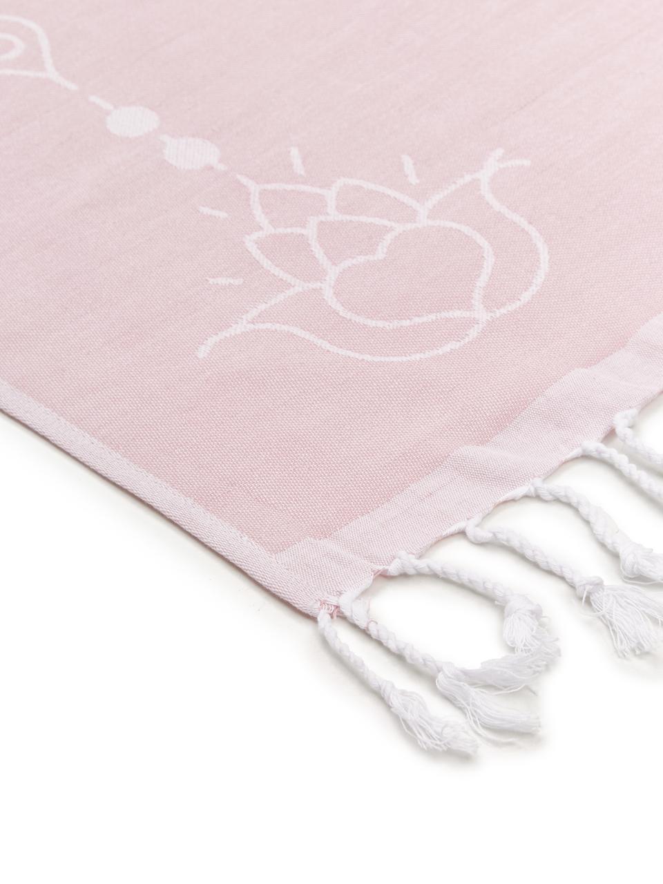 Telo fouta in cotone Lotus, Cotone Qualità del tessuto leggero, 210g/m², Rosa, bianco, Larg. 90 x Lung. 180 cm