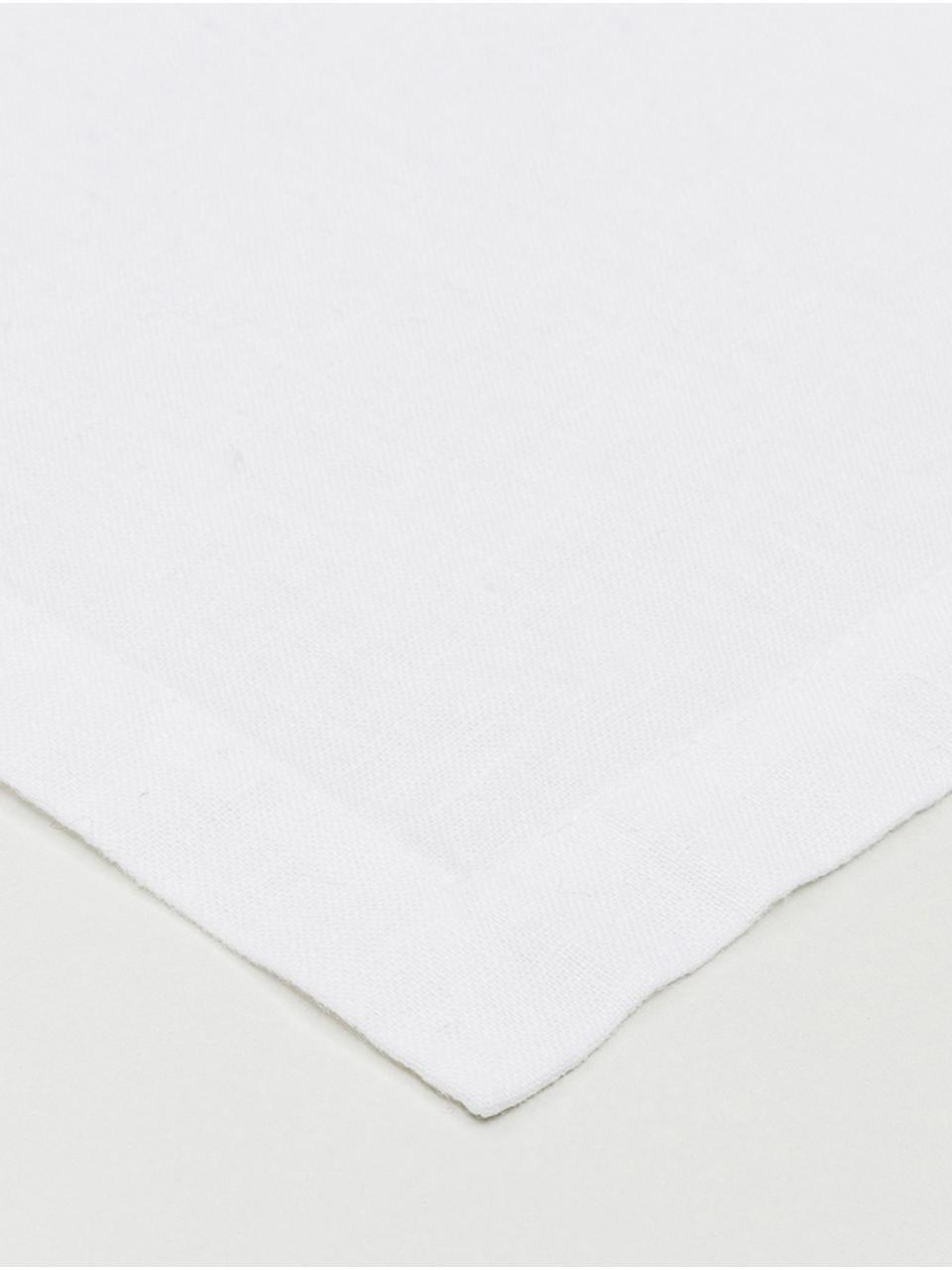 Leinen-Tischläufer Ruta in Weiß, Schneeweiß, 40 x 140 cm