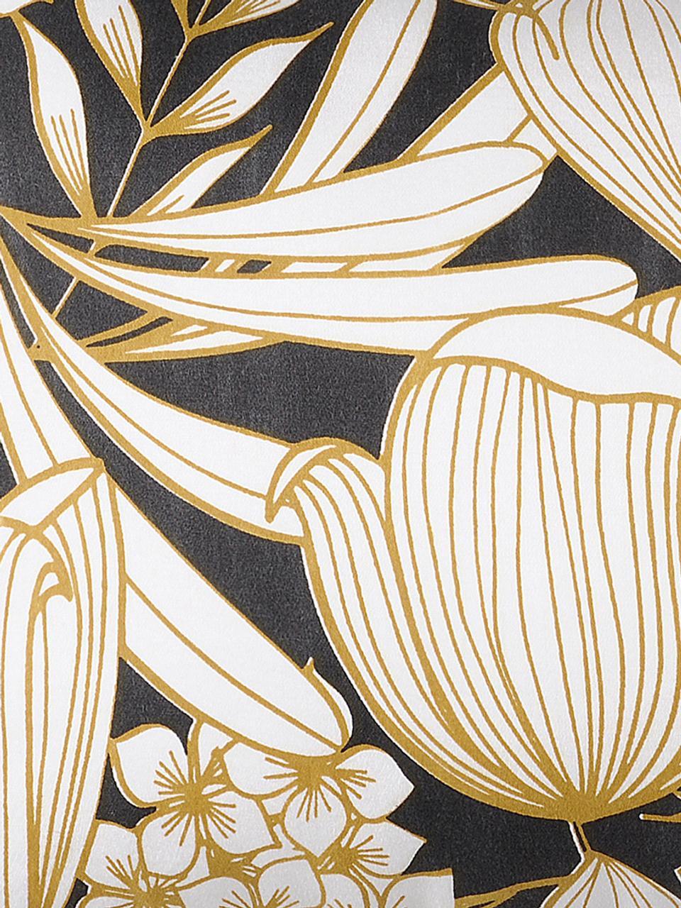 Cuscino con imbottitura e motivo floreale Ortance, Rivestimento: 50% cotone, 50% poliester, Giallo senape, nero, crema, Larg. 30 x Lung. 50 cm