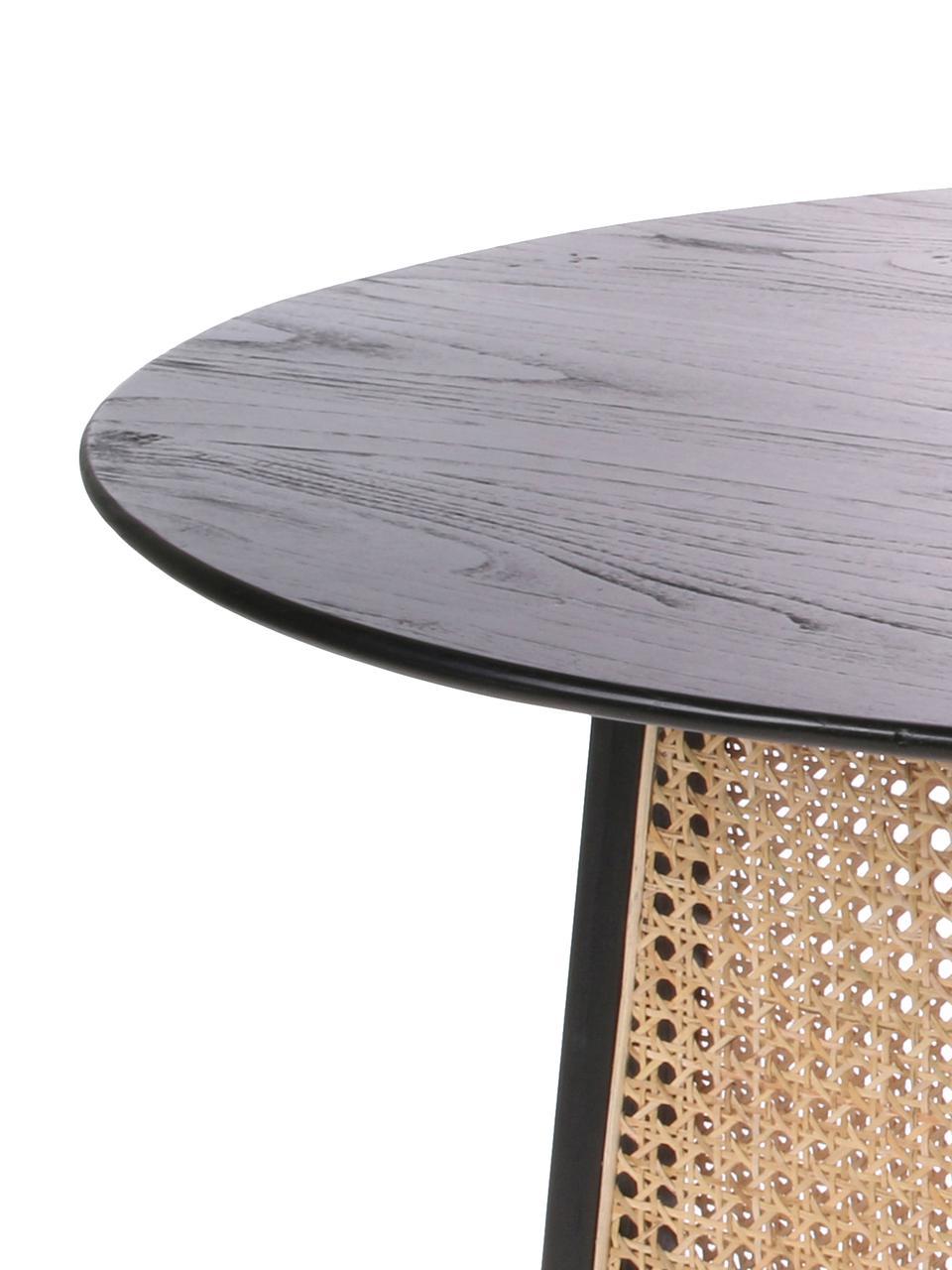 Ronde salontafel Retro met Weens vlechtwerk, Zwart, Ø 80 x H 30 cm