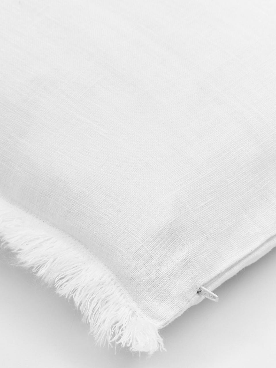 Poszewka na poduszkę z lnu z frędzlami Luana, 100% len, Kremowobiały, S 60 x D 60 cm