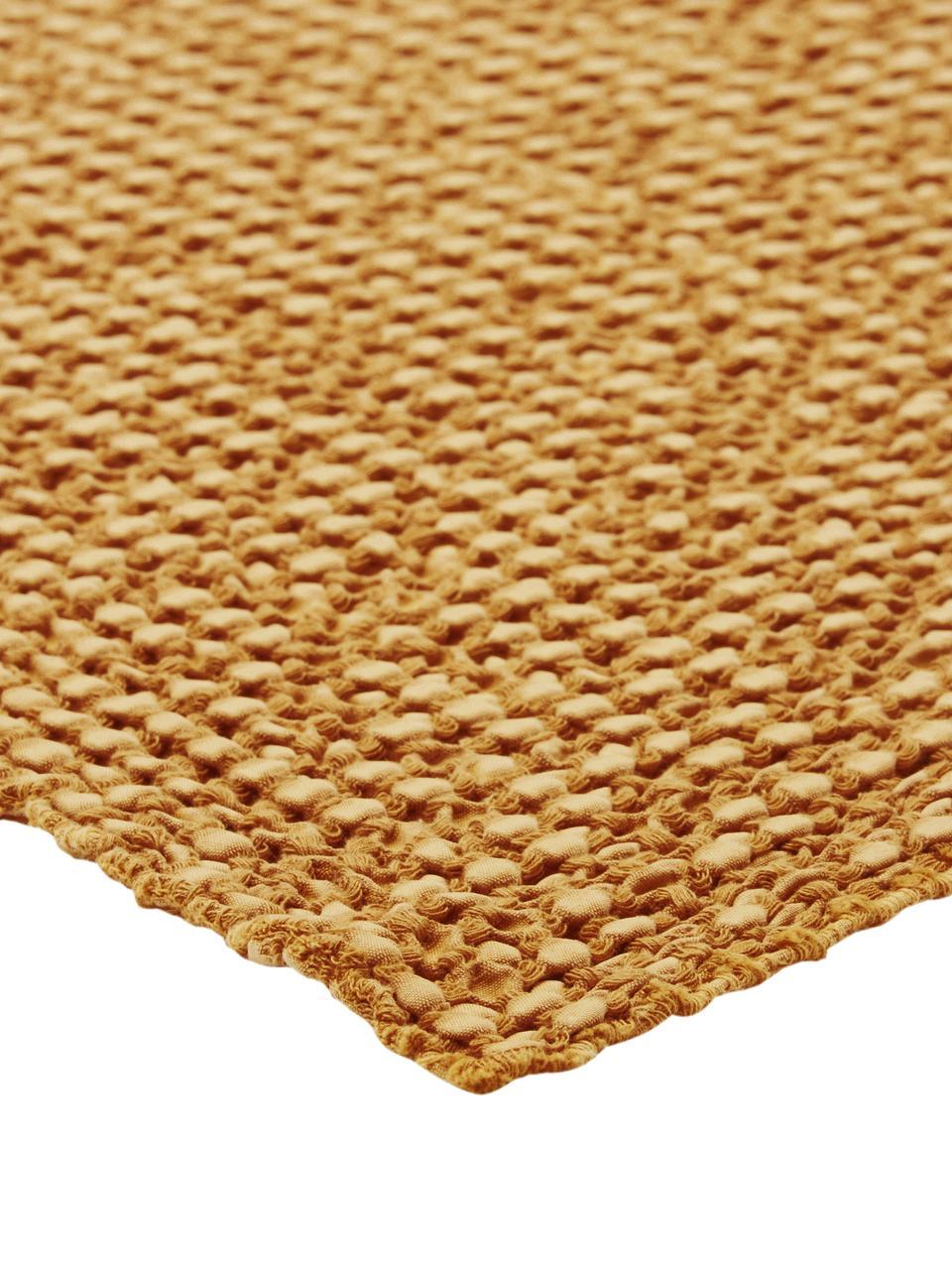 Baumwoll-Plaid Vigo in Goldgelb mit strukturierter Oberfläche, 100% Baumwolle, Goldgelb, 140 x 200 cm