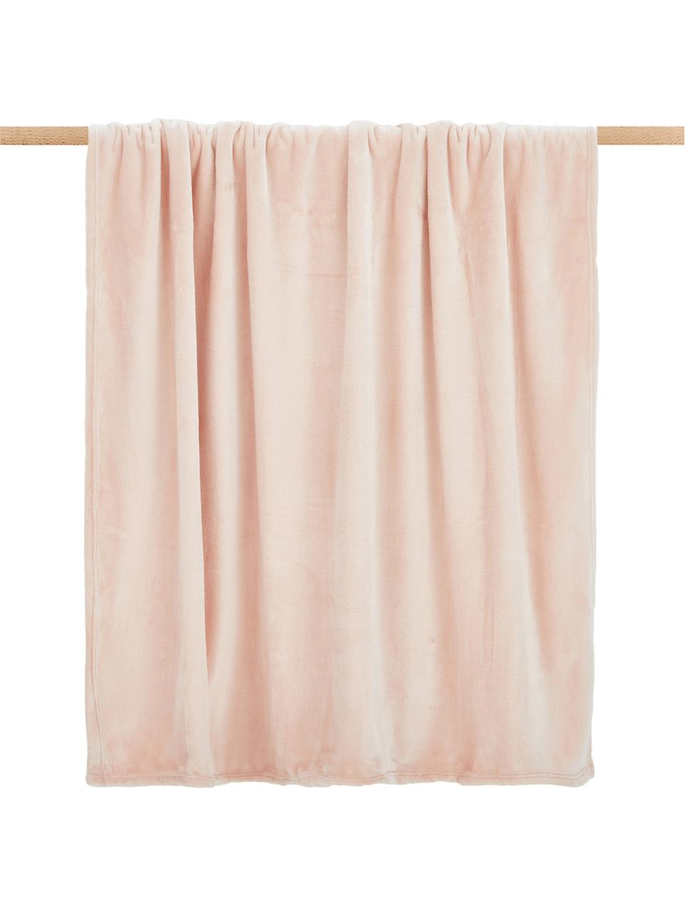 Plaid in morbido pile rosa cipria Doudou, 100% poliestere, Rosa cipria, Larg. 130 x Lung. 160 cm