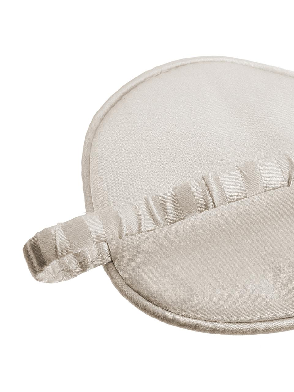 Seiden-Schlafmaske Silke, Vorderseite: 70% Kaschmir, 30% Merinow, Riemen: 100% Seide, Elfenbeinfarben, Beige, 21 x 9 cm