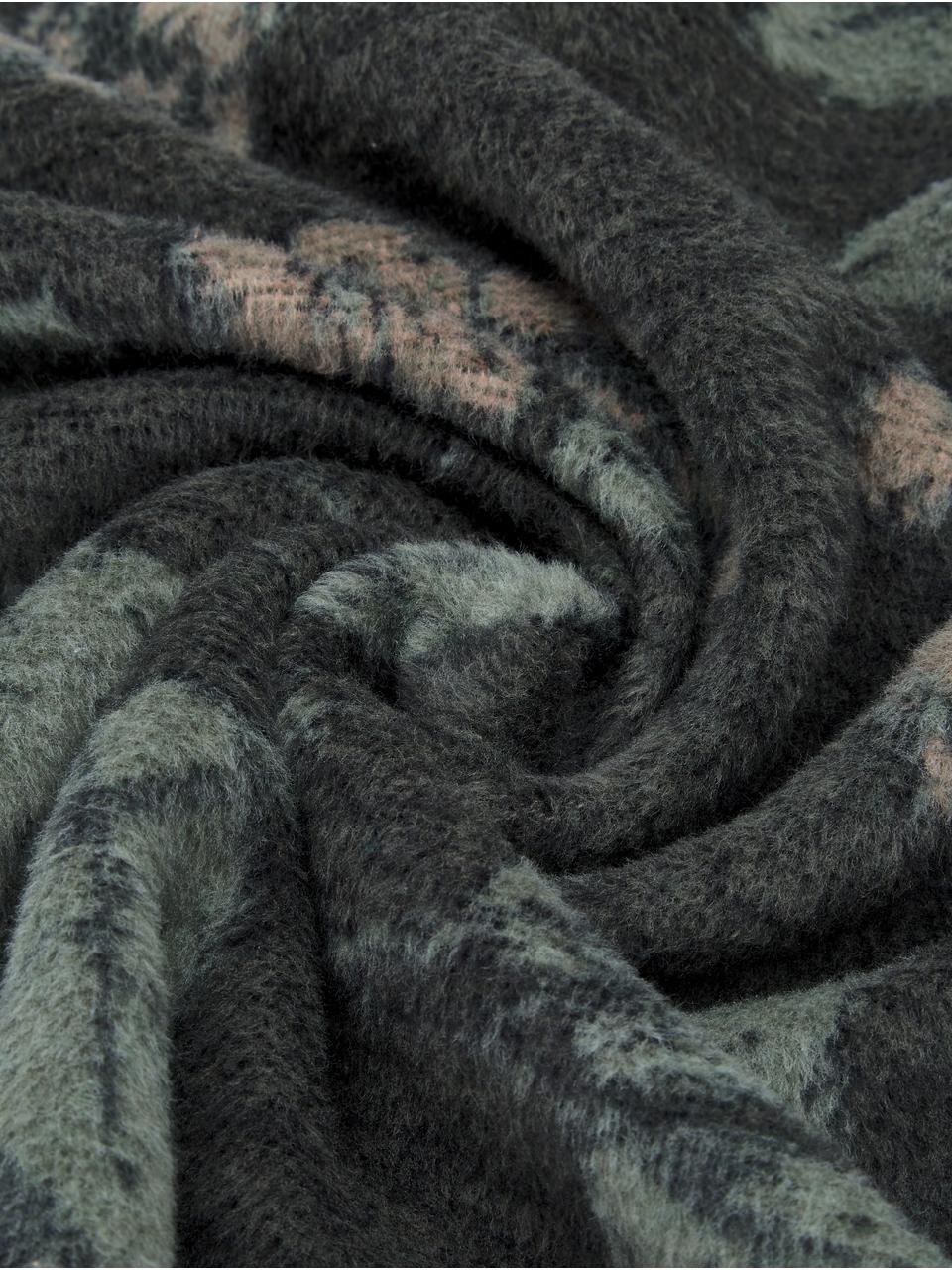 Kuscheldecke Savona mit Blumenmuster, 85% Baumwolle, 8% Viskose, 7% Polyacryl, Dunkelgrau, Grün, Dunkelbeige, 150 x 200 cm