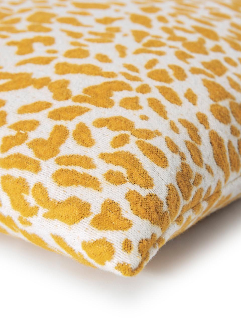 Federa arredo con stampa leopardo Sana, Giallo senape, bianco, Larg. 50 x Lung. 50 cm