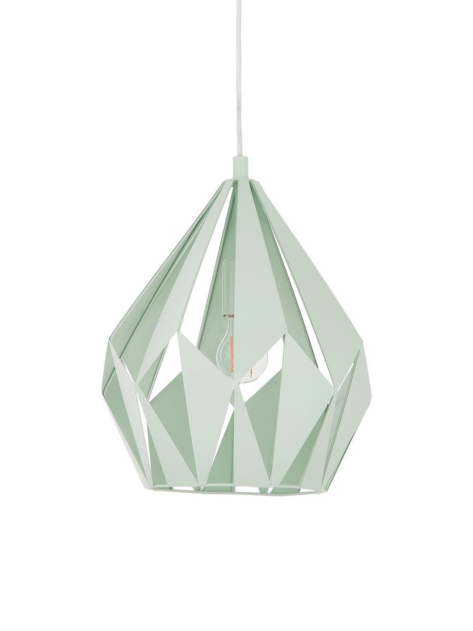 Lampada a sospensione stile nordico Carlton, Paralume: acciaio verniciato, Baldacchino: acciaio verniciato, Verde chiaro, Ø 31 x Alt. 40 cm