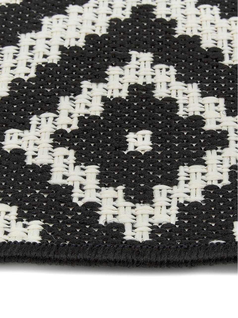 Tapis de couloir outdoor noir Miami, Blanc crème, noir