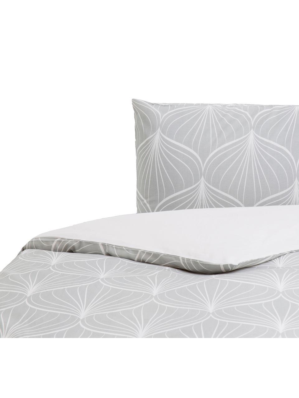 Parure copripiumino in cotone Rama, Cotone, Fronte: grigio, bianco Retro: bianco, 200 x 200 cm