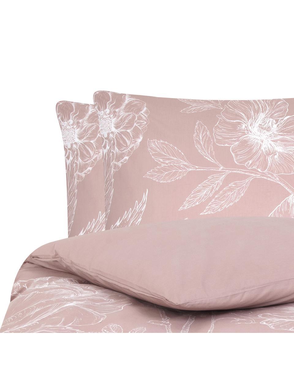 Baumwollperkal-Bettwäsche Keno mit Blumenprint, Webart: Perkal Fadendichte 180 TC, Altrosa, Weiß, 240 x 220 cm + 2 Kissen 80 x 80 cm