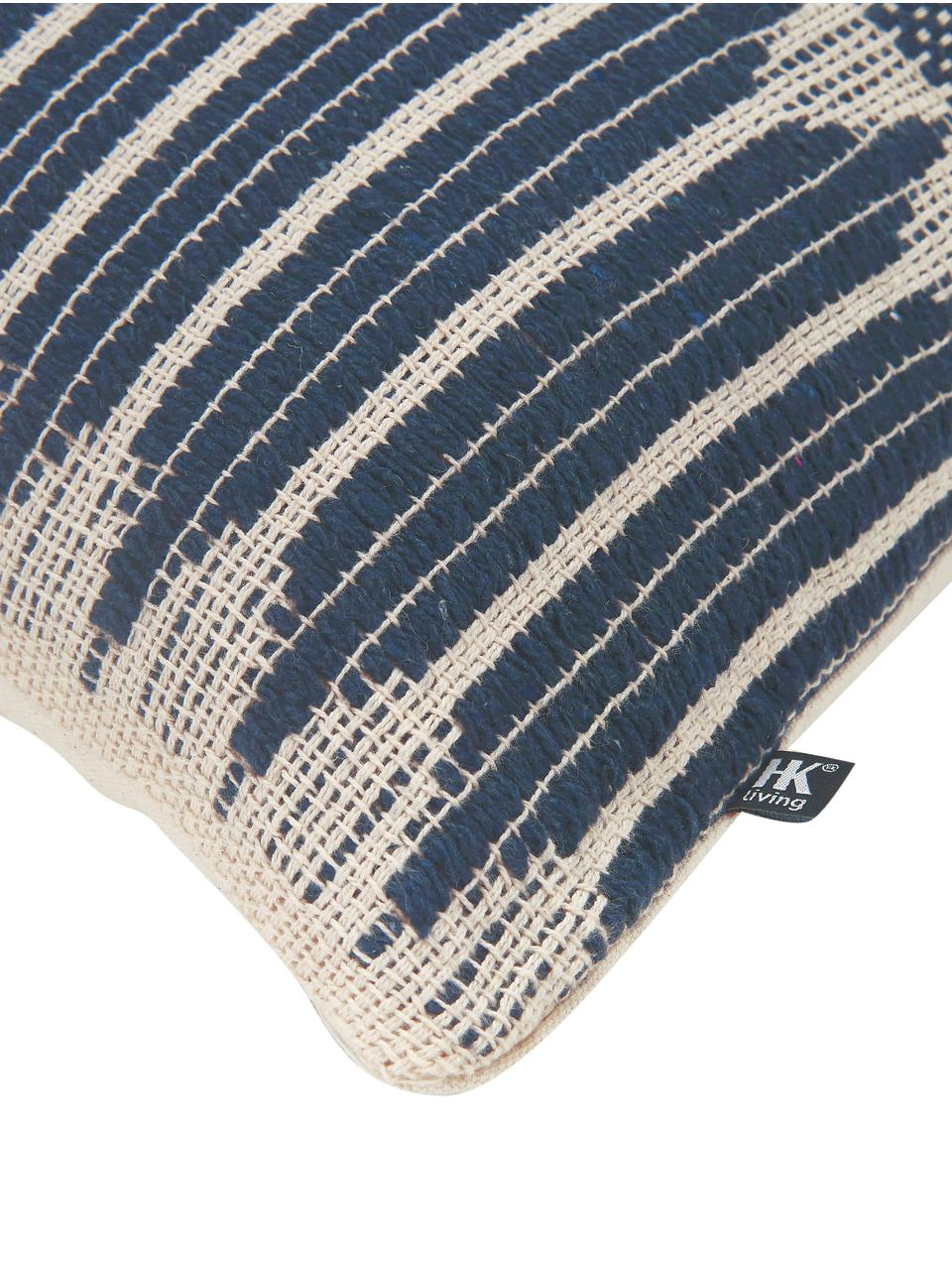 Cuscino con imbottitura fatto a mano Aztec, Custodia: 100% cotone, Blu scuro, crema, Larg.40 x Lung. 60 cm