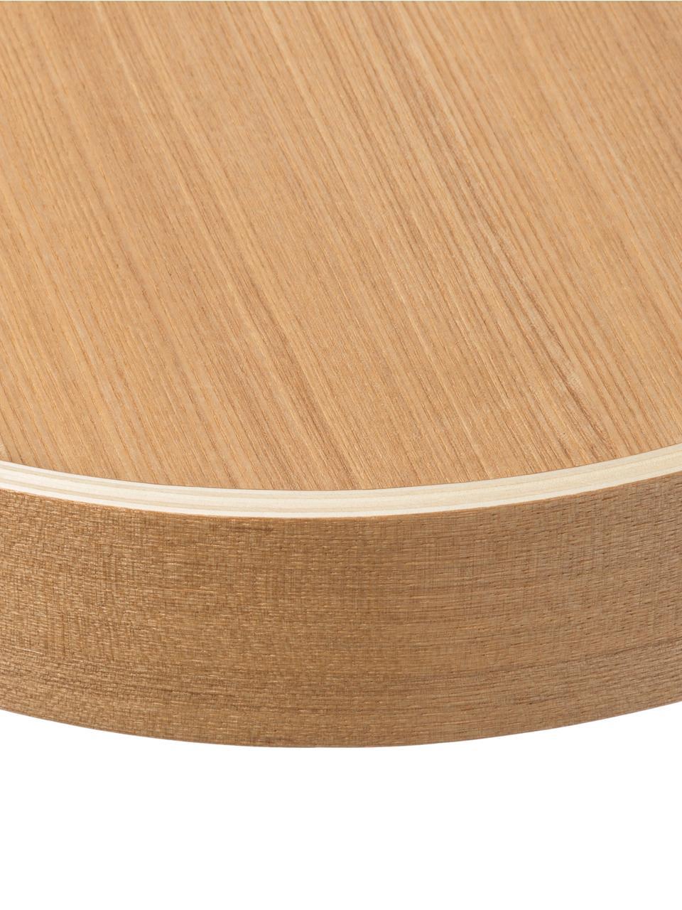 Bijzettafel met dienblad Oak Tray, Tafelblad: MDF, eikenfineer, Poten: gepoedercoat staal, Eiken, Ø 47 x H 56 cm