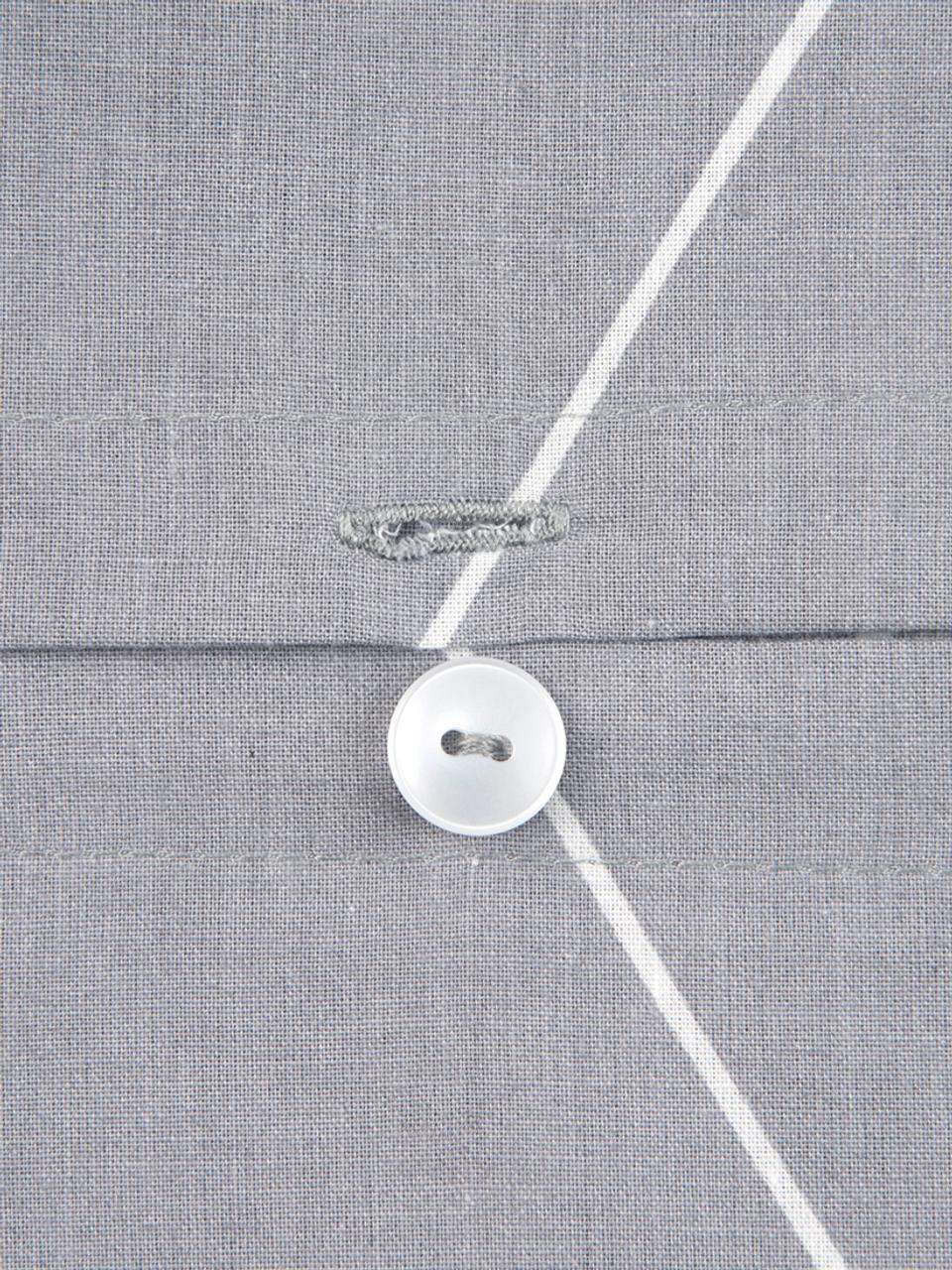 Parure copripiumino in cotone ranforce Lynn, Tessuto: Renforcé, Grigio, bianco crema, 155 x 200 cm