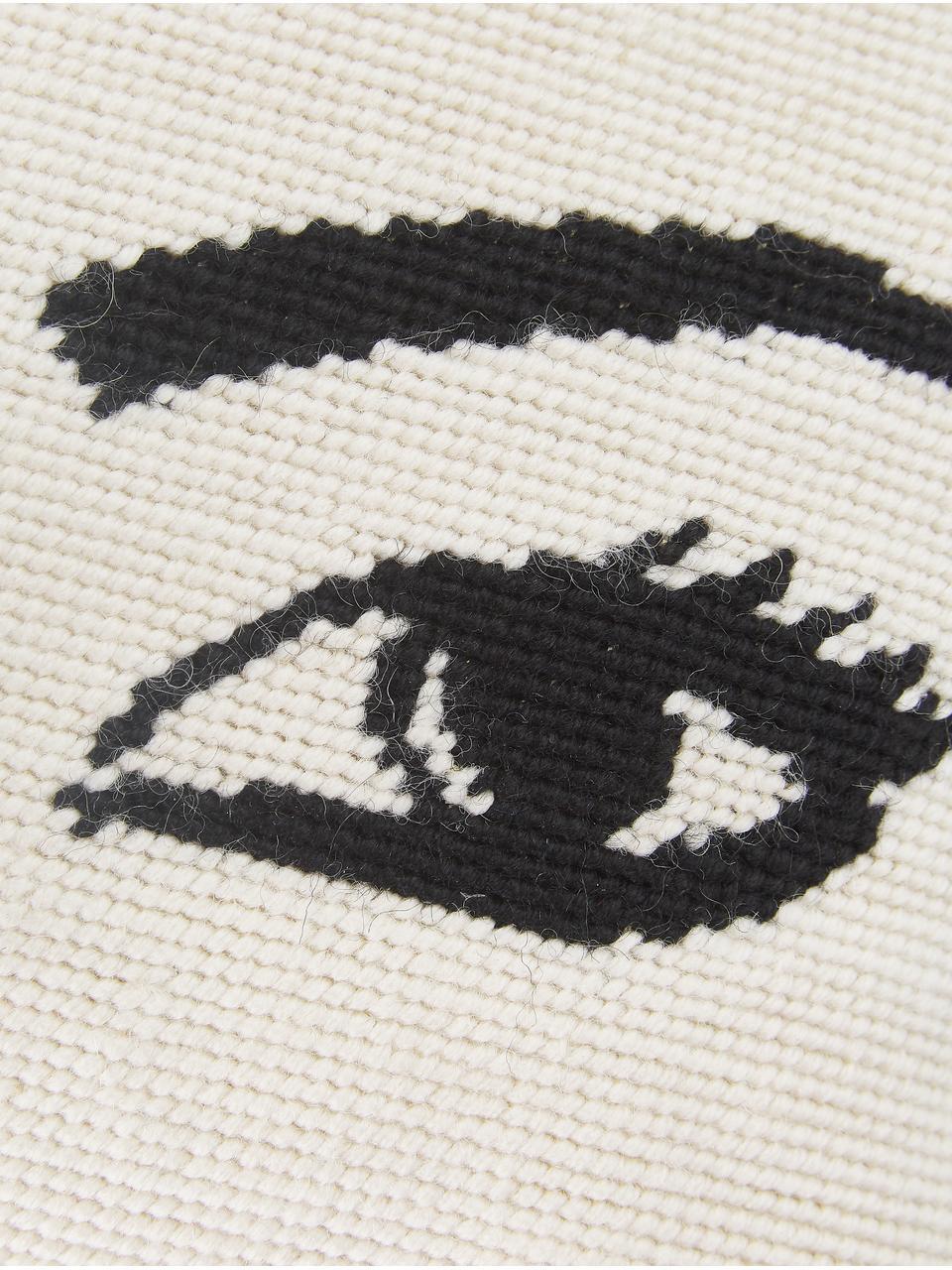 Mała poduszka z wypełnieniem Eyes, Biały, czarny, S 23 x D 30 cm