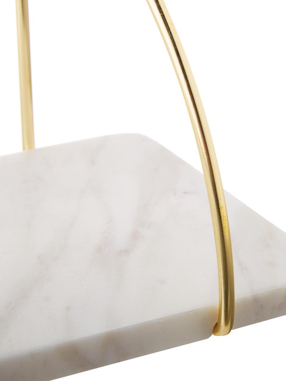 Estante de pared de mármol Porter, Estantería: mármol, Mármol blanco, dorado, An 40 x Al 18 cm