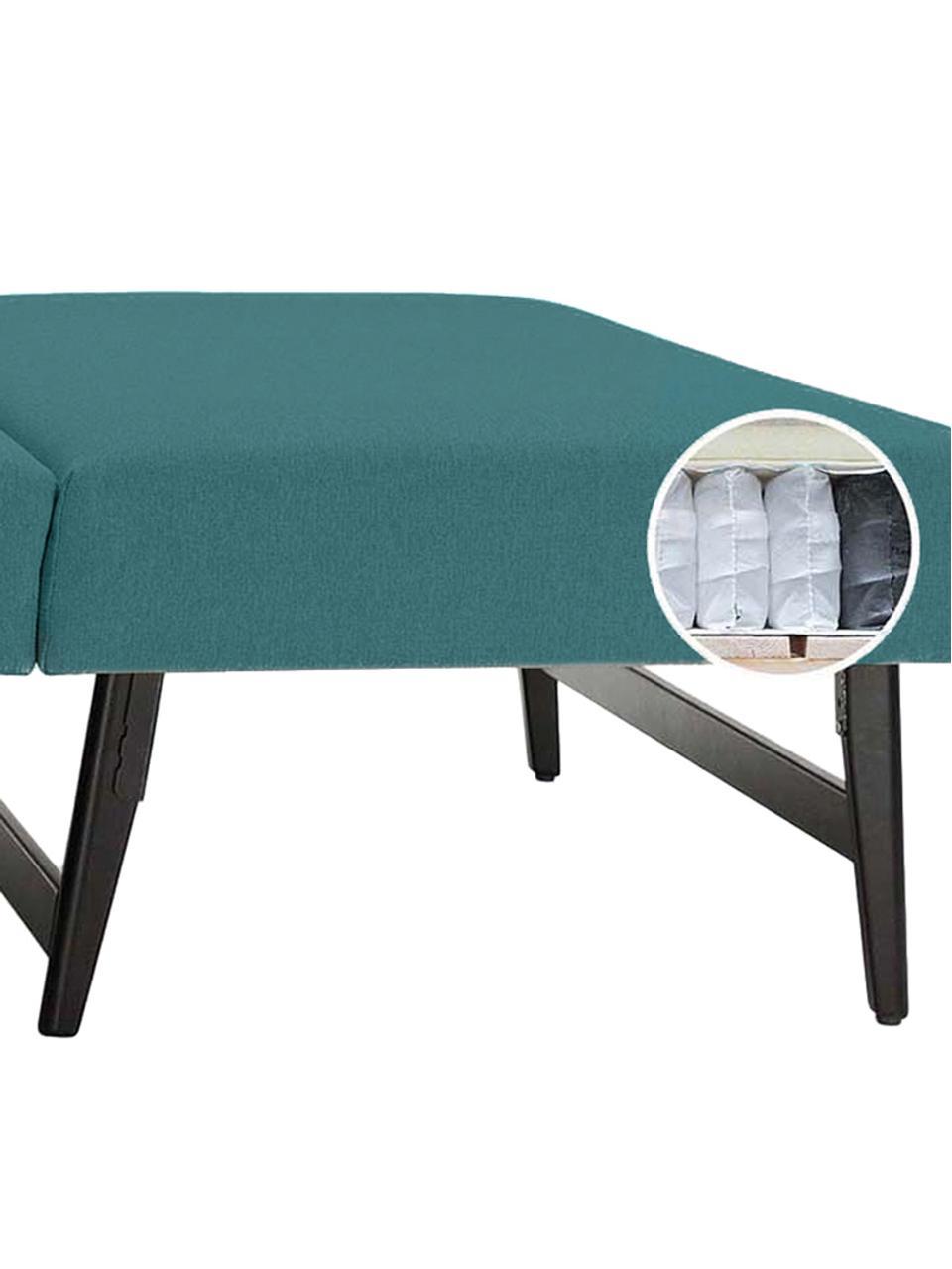 Schlafsofa Bruno (3-Sitzer) in Türkis, ausklappbar, Bezug: Pflegeleichtes robustes P, Rahmen: Massivholz, Webstoff Türkis, B 200 x T 84 cm