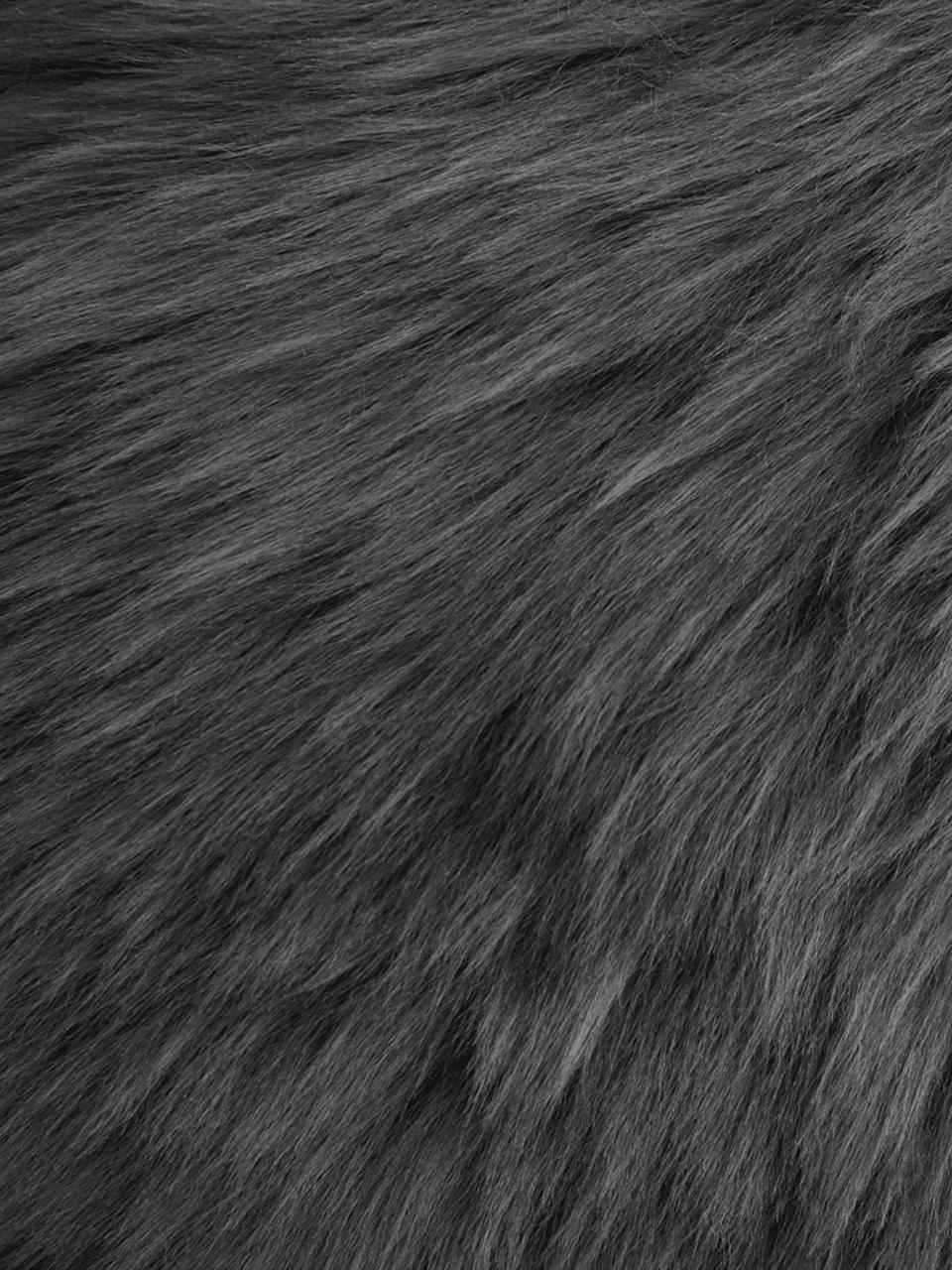Schaffell Oslo, glatt, Flor: 100% Schaffell, Dunkelgrau, 60 x 90 cm