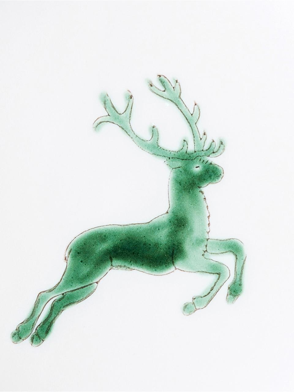 Handbeschilderde schoteltje Classic Green Deer, Keramiek, Groen, wit, Ø 15 cm