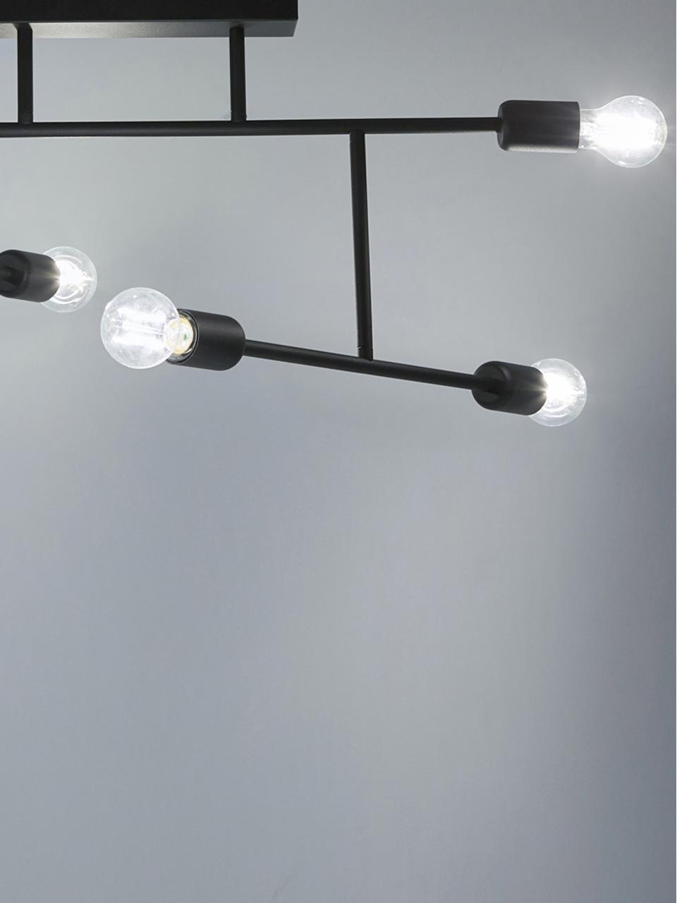 Große Deckenleuchte Joni, verstellbar, Metall, pulverbeschichtet, Schwarz, 75 x 36 cm
